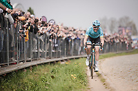 Hugo HOULE (CAN/Astana) leading solo up the first passage up the Oude Kwaremont<br /> <br /> 103rd Ronde van Vlaanderen 2019<br /> One day race from Antwerp to Oudenaarde (BEL/270km)<br /> <br /> ©kramon