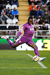Malaga CF´s goalkeeper Idriss Carlos Kameni during 2014-15 La Liga match between Rayo Vallecano and Malaga CF at Rayo Vallecano stadium in Madrid, Spain. March 21, 2015. (ALTERPHOTOS/Luis Fernandez)