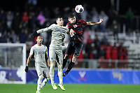 CARY, NC - DECEMBER 13: Cam Cilley #16 of Stanford University and Jacob Montes #7 of Georgetown University challenge for a header during a game between Stanford and Georgetown at Sahlen's Stadium at WakeMed Soccer Park on December 13, 2019 in Cary, North Carolina.