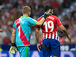Diego Costa of Atletico Madrid and Alberto Garcia of Rayo Vallecano during the match between Real Madrid v Rayo Vallecano of LaLiga, 2018-2019 season, date 2. Wanda Metropolitano Stadium. Madrid, Spain - 25 August 2018. Mandatory credit: Ana Marcos / PRESSINPHOTO