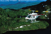 Aerial view of a helicopter on a sightseeing tour. Alaska.