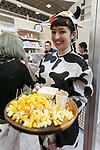 An exhibitor poses for a photograph during the 42nd International Food and Beverage Exhibition (FOODEX JAPAN 2017) in Makuhari Messe International Convention Complex on March 8, 2017, Chiba, Japan. About 3,282 companies from 77 nations are participating in the Asia's largest food and beverage trade show. This year organizers expect 77,000 visitors for the four-day event, which runs until March 10. (Photo by Rodrigo Reyes Marin/AFLO)