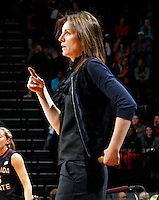 Florida State Seminoles head coach Sue Semrau stands on the court during the game against Florida State Jan. 29, 2012 in Charlottesville, Va.  Virginia defeated Florida State 62-52.
