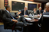 United States President Barack Obama meets with members of his national security team to discuss developments in the Boston bombings investigation, in the Situation Room of the White House, April 19, 2013. Pictured, from left, are: FBI Director Robert Mueller; Lisa Monaco, Assistant to the President for Homeland Security and Counterterrorism; Attorney General Eric Holder; Deputy National Security Advisor Tony Blinken; and Vice President Joe Biden. .Mandatory Credit: Pete Souza - White House via CNP