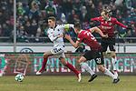 10.02.2018, HDI Arena, Hannover, GER, 1.FBL, Hannover 96 vs SC Freiburg<br /> <br /> im Bild<br /> Nils Petersen (SC Freiburg #18), Waldemar Anton (Hannover 96 #31), <br /> <br /> Foto &copy; nordphoto / Ewert
