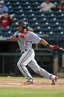 Mesa Solar Sox catcher Pedro Severino (14) during an Arizona Fall League game against the Peoria Javelinas on October 15, 2014 at Surprise Stadium in Surprise, Arizona.  Mesa defeated Peoria 5-2.  (Mike Janes/Four Seam Images)