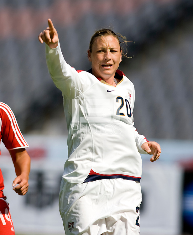 Abby Wambach. The U.S. defeated Canada, 4-0, during the Four Nations Tournament in Guangzhou, China on January 16, 2008.