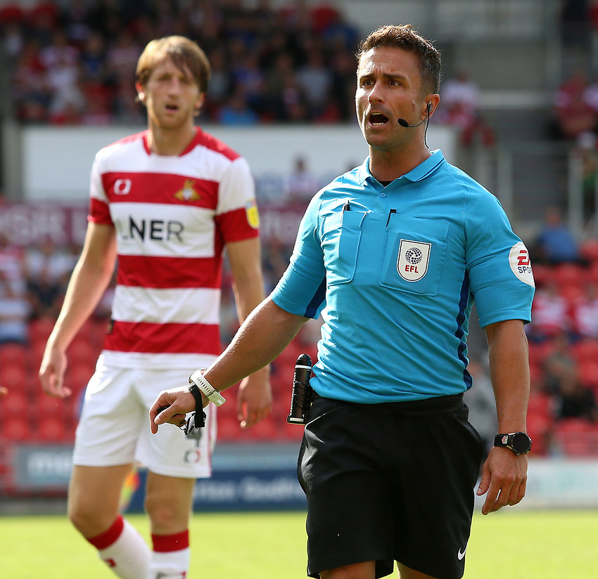 Referee James Adcock in action<br /> <br /> Photographer David Shipman/CameraSport<br /> <br /> The EFL Sky Bet League One - Doncaster Rovers v Fleetwood Town - Saturday 17th August 2019  - Keepmoat Stadium - Doncaster<br /> <br /> World Copyright © 2019 CameraSport. All rights reserved. 43 Linden Ave. Countesthorpe. Leicester. England. LE8 5PG - Tel: +44 (0) 116 277 4147 - admin@camerasport.com - www.camerasport.com