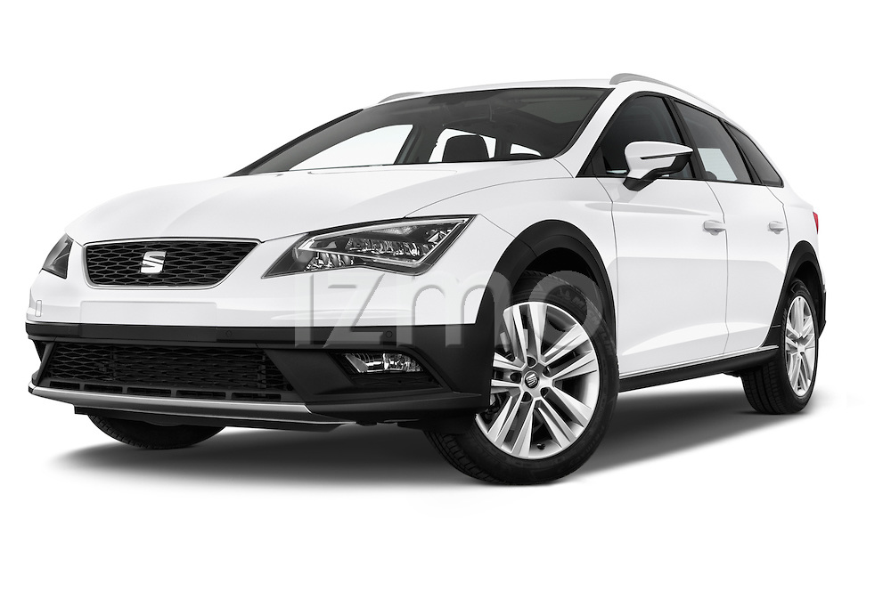 Stock pictures of low aggressive front three quarter view of a 2015 Seat Leon Style Copa 4 Door Hatchback Low Aggressive