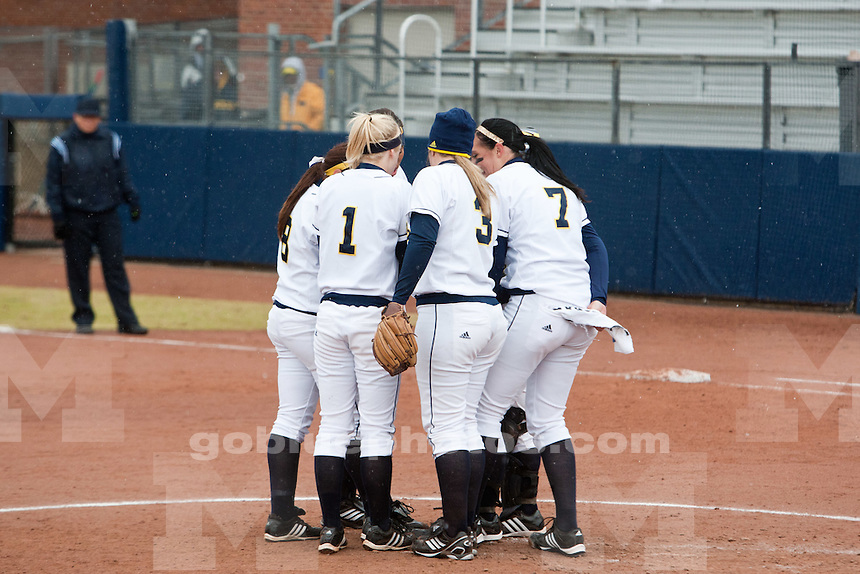 The University of Michigan softball team defeats Indiana University 2-1 in the first game of a doubleheader at Alumni Field in Ann Arbor, Mich. on April 2, 2011.