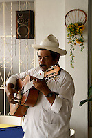 Traditional son jarocho musicians performing in a restaurant in Catemaco, Veracruz, Mexico
