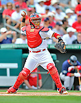 8 March 2012: St. Louis Cardinals' catcher Yadier Molina in action during a Spring Training game against the Boston Red Sox at Roger Dean Stadium in Jupiter, Florida. The Cardinals defeated the Red Sox 9-3 in Grapefruit League action. Mandatory Credit: Ed Wolfstein Photo