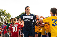 Sky Blue FC midfielder Nayeli Rangel (7) greets fans prior to the match. Sky Blue FC and the Portland Thorns played to a 0-0 tie during a National Women's Soccer League (NWSL) match at Yurcak Field in Piscataway, NJ, on June 22, 2013.