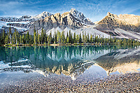 Bow Lake reflection, Banff National Park. A calm lake and sweet morning light come together here for my favorite photo I have taken in the Canadian Rockies