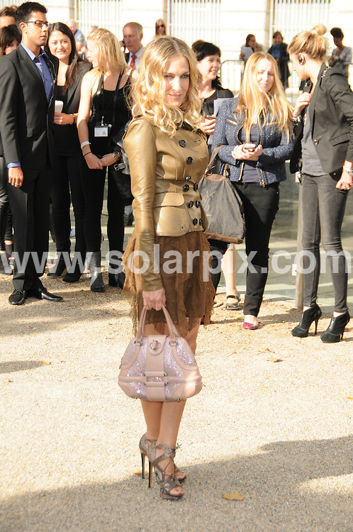 **ALL ROUND PICTURES FROM SOLARPIX.COM**                                             **WORLDWIDE SYNDICATION RIGHTS**                                                                                  Caption: The Burberry 2011 catwalk show as part of London Fashion Week at Chelsea College of Art and Design, London, UK. 21 September 2010                                                                              This pic: Sarah Jessica Parker                                                                                           JOB REF: 12162 MSR       DATE: 21_09_2010                                                           **MUST CREDIT SOLARPIX.COM OR DOUBLE FEE WILL BE CHARGED**                                                                      **MUST AGREE FEE BEFORE ONLINE USAGE**                               **CALL US ON: +34 952 811 768 or LOW RATE FROM UK 0844 617 7637**