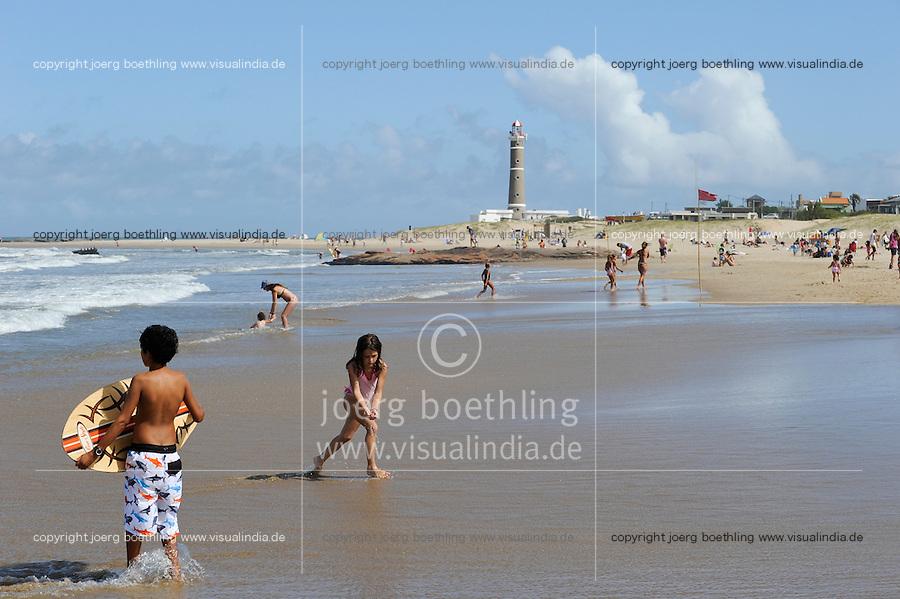 URUGUAY Jose Ignacio, lighthouse <br /> Faro de Jose Ignacio and beach at atlantic ocean