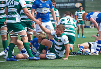 Harry Sloan of Ealing Trailfinders scores a try during the 2019/20 Pre Season Friendly match between Ealing Trailfinders and Bishop's Stortford at Castle Bar , West Ealing , England  on 24 August 2019. Photo by Alan  Stanford / PRiME Media images