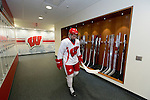 Wisconsin Badgers men's hockey player heads to practice on move-in day at the LaBahn Arena Monday, October 1, 2012 in Madison, Wisc. (Photo by David Stluka)