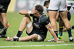 Lewis Ormond of New Zealand sits on the grass during the match South Africa vs New Zealand, Day 2 of the HSBC Singapore Rugby Sevens as part of the World Rugby HSBC World Rugby Sevens Series 2016-17 at the National Stadium on 16 April 2017 in Singapore. Photo by Victor Fraile / Power Sport Images