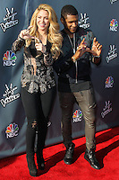 "HOLLYWOOD, LOS ANGELES, CA, USA - APRIL 03: Shakira, Usher at the NBC's ""The Voice"" Red Carpet Event held at The Sayers Club on April 3, 2014 in Hollywood, Los Angeles, California, United States. (Photo by Xavier Collin/Celebrity Monitor)"