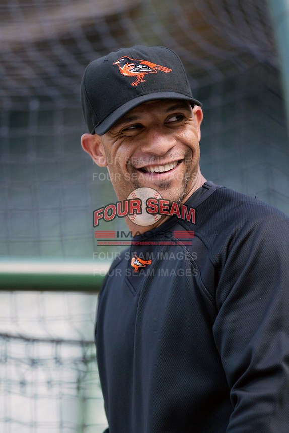 Jay Payton of the Baltimore Orioles during batting practice before a game from the 2007 season at Angel Stadium in Anaheim, California. (Larry Goren/Four Seam Images)