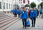 FK Trakai v St Johnstone&hellip;05.07.17&hellip; Europa League 1st Qualifying Round 2nd Leg<br />St Johnstone&rsquo;s Chris Millar and Paul Paton lead the players from the airport after landing in Vilnius, Lithuania<br />Picture by Graeme Hart.<br />Copyright Perthshire Picture Agency<br />Tel: 01738 623350  Mobile: 07990 594431