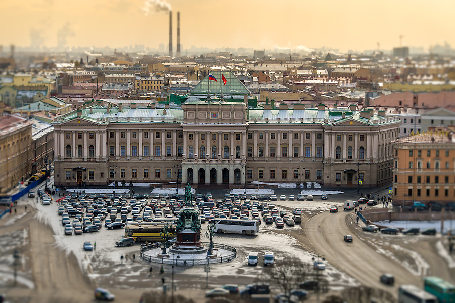 View of Saint Isaac's square, the Mariinsky Palace and the Monument to Nicholas I in St. Petersburg, Russia.