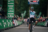 Wout Poels (NED/SKY) wins stage 6 from Barrow-in-Furness to Whinlatter Pass (168km)<br /> <br /> 15th Ovo Energy Tour of Britain 2018