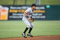 Hickory Crawdads shortstop Anderson Tejeda (1) on defense against the Kannapolis Intimidators at Kannapolis Intimidators Stadium on April 21, 2017 in Kannapolis, North Carolina.  (Brian Westerholt/Four Seam Images)