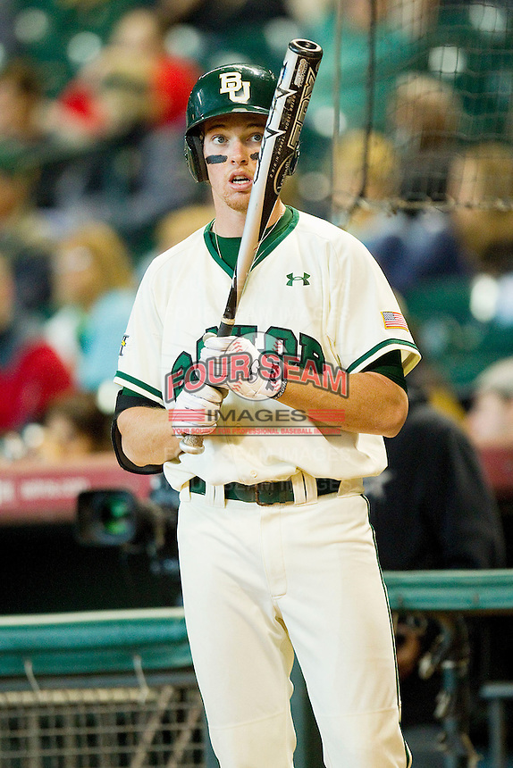 Brooks Pinckard #16 of the Baylor Bears waits in the on deck circle during the game against the Utah Utes at Minute Maid Park on March 5, 2011 in Houston, Texas.  Photo by Brian Westerholt / Four Seam Images