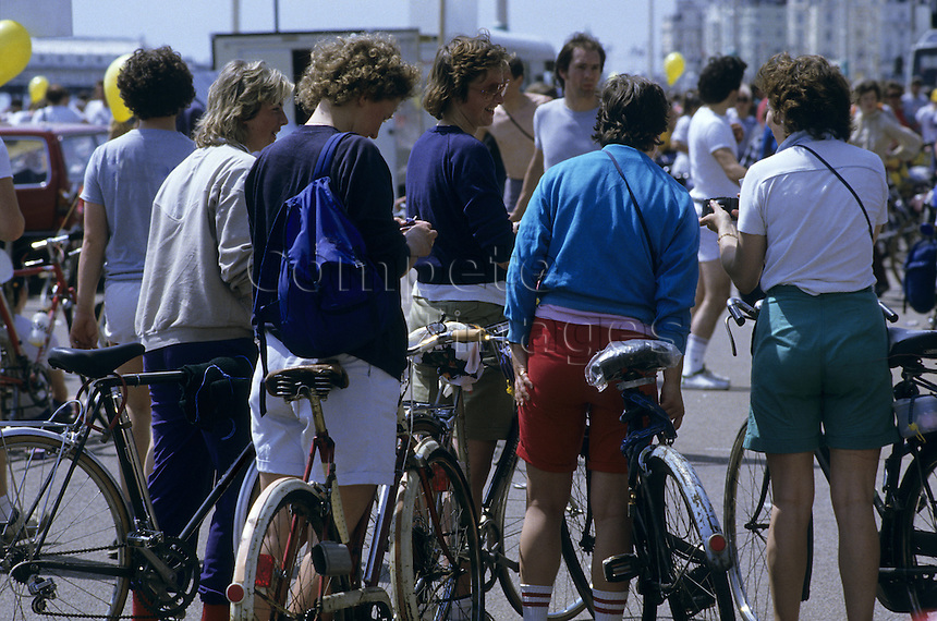 Group of female cyclists on a busy bike path