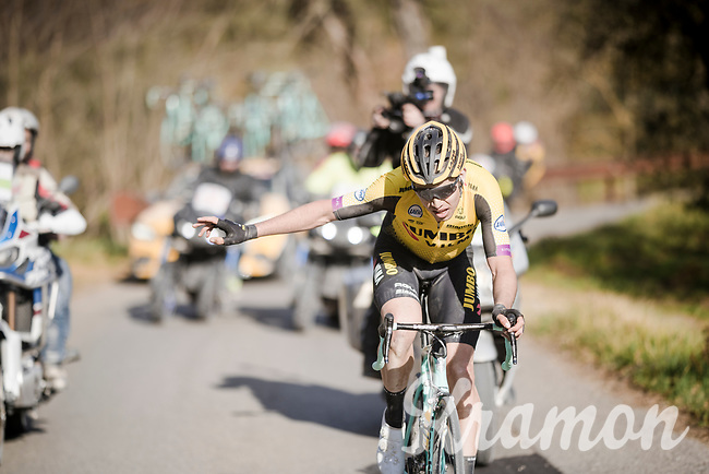 Wout Van Aert (BEL/Jumbo-Visma) on his way to repeating his brakethrough performance of 1 year earlier (with a podium spot)<br /> <br /> 13th Strade Bianche 2019 (1.UWT)<br /> One day race from Siena to Siena (184km)<br /> <br /> ©kramon