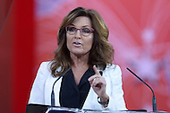 National Harbor, MD - February 26, 2015: Former Alaska Governor Sarah Palin speaks to attendees of the Conservative Political Action Conference (CPAC) at National Harbor, MD, February 26, 2015.  (Photo by Don Baxter/Media Images International)