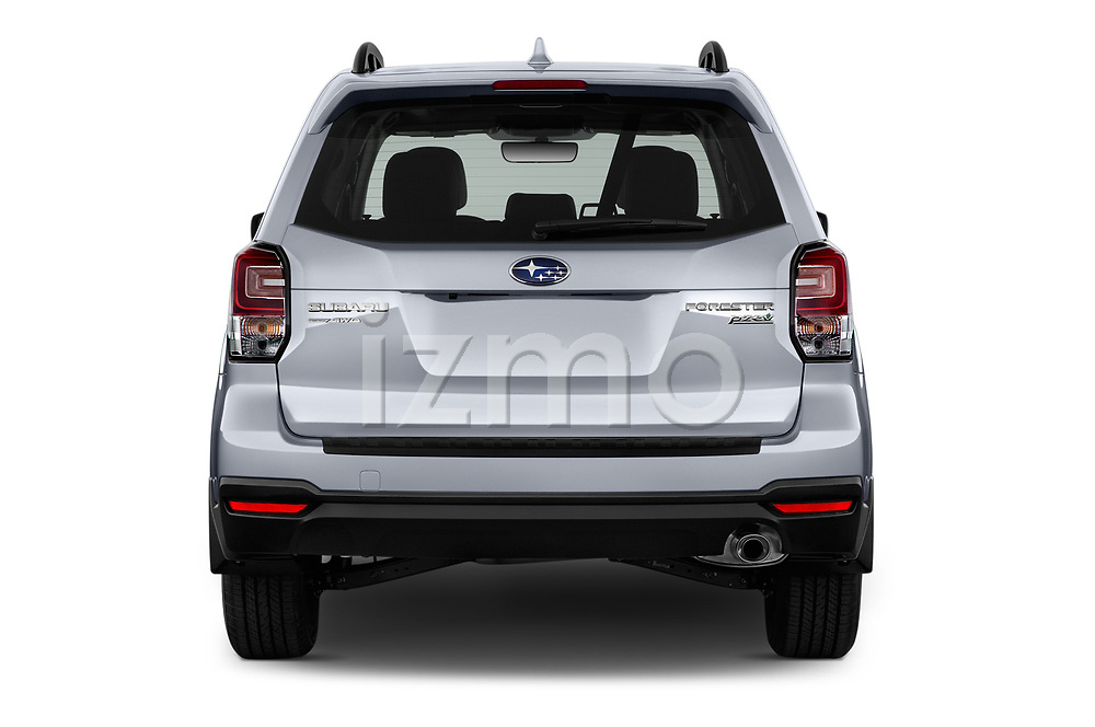 Straight rear view of 2017 Subaru Forester Comfort 5 Door Wagon Rear View  stock images