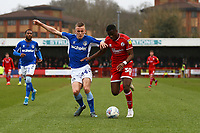 Thomas Hamer of Oldham Athletic and Beryly Lubala of Crawley Town during Crawley Town vs Oldham Athletic, Sky Bet EFL League 2 Football at Broadfield Stadium on 7th March 2020