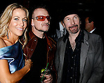 WEST HOLLYWOOD, CA. - February 08: Musicians Sheryl Crow, Bono and The Edge attend the Universal Music Group Chairman Doug Morris' Grammy Awards Viewing Dinner at The Palm on February 8, 2009 in West Hollywood, California.