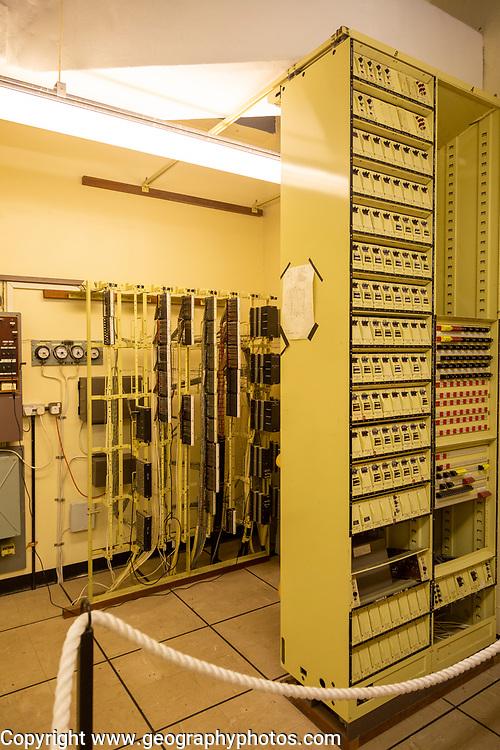BT Frame room telephone exchange inside Bentwaters Cold War museum, Suffolk, England, UK