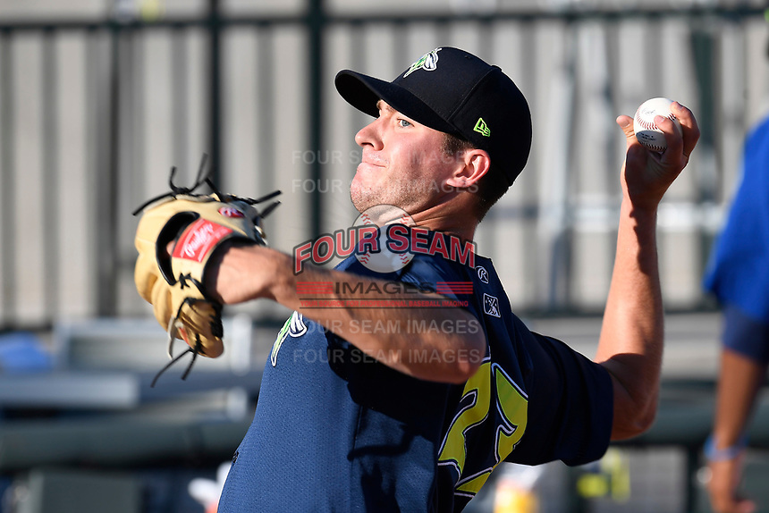 Starting pitcher Gary Cornish (23) of the Columbia Fireflies warms up before a game against the Lexington Legends on Thursday, June 8, 2017, at Spirit Communications Park in Columbia, South Carolina. Columbia won, 8-0. (Tom Priddy/Four Seam Images)