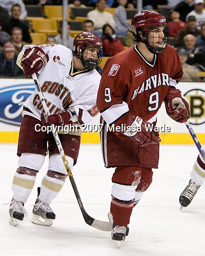 Nathan Gerbe (Boston College - Oxford, MI), Jimmy Fraser (Harvard University - Port Huron, MI) - The Boston College Eagles defeated the Harvard University Crimson 3-1 in the first round of the 2007 Beanpot Tournament on Monday, February 5, 2007, at the TD Banknorth Garden in Boston, Massachusetts.  The first Beanpot Tournament was played in December 1952 with the scheduling moved to the first two Mondays of February in its sixth year.  The tournament is played between Boston College, Boston University, Harvard University and Northeastern University with the first round matchups alternating each year.