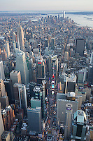 Times Square, looking south to Freedom Tower, aerial view, New York, NY