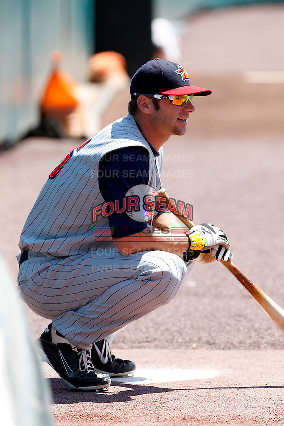 Toledo Mudhens catcher Max St. Pierre #16 during a game against the Buffalo Bisons at Coca-Cola Field on August 17, 2011 in Buffalo, New York.  Buffalo defeated Toledo 4-2.  (Mike Janes/Four Seam Images)