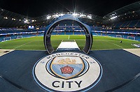 General view of the empty Stadium in the build up to the UEFA Champions League match between Manchester City and Barcelona at the Etihad Stadium, Manchester, England on 1 November 2016. Photo by Andy Rowland / PRiME Media Images.