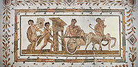 Picture of a Roman mosaics design depicting Dionysus drunk being transported on a chariot pulled by a centaur, they are followed by a Bacchante, follower of Bacchus, and a Satyr, from the ancient Roman city of Thysdrus. 3rd century AD House of Tertulla. El Djem Archaeological Museum, El Djem, Tunisia.