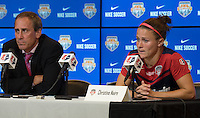 Houston, TX - Sunday Oct. 09, 2016: Jim Gabarra, Christine Narin after the National Women's Soccer League (NWSL) Championship match between the Washington Spirit and the Western New York Flash at BBVA Compass Stadium. The Western New York Flash win 3-2 on penalty kicks after playing to a 2-2 tie.