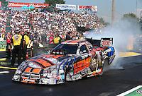 Aug. 3, 2014; Kent, WA, USA; NHRA funny car driver Matt Hagan during the Northwest Nationals at Pacific Raceways. Mandatory Credit: Mark J. Rebilas-