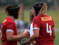 Kayla Mack (right) talks to Laura Russell before a lineout throw in the 2017 International Women's Rugby Series rugby match between Canada and Australia Wallaroos at Smallbone Park in Rotorua, New Zealand on Saturday, 17 June 2017. Photo: Dave Lintott / lintottphoto.co.nz