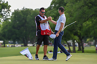 Justin Rose (GBR) and his caddie celebrate winning the Fort Worth Invitational, The Colonial, at Fort Worth, Texas, USA. 5/27/2018.<br /> Picture: Golffile | Ken Murray<br /> <br /> All photo usage must carry mandatory copyright credit (© Golffile | Ken Murray)