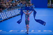 June 11th 2017, Leeds, Yorkshire, England; ITU World Triathlon Leeds 2017; Alistair Brownlee crosses the finish line and wins the mens race