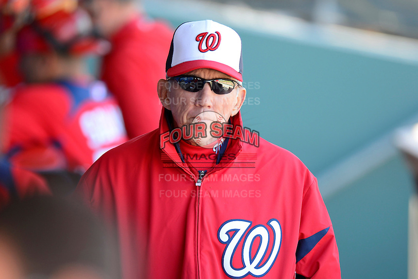 Washington Nationals manager Davey Johnson #5 during a Spring Training game against the Philadelphia Phillies at Bright House Field on March 6, 2013 in Clearwater, Florida.  Philadelphia defeated Washington 6-3.  (Mike Janes/Four Seam Images)