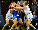 SIOUX FALLS, SD - NOVEMBER 15: South Dakota State Jackrabbits's Paiton Burckhard #33 knocks the ball from the hands of Sarah Carr #40 from Dakota Wesleyan during their game Friday evening at the Sanford Pentagon in Sioux Falls, SD. (Photo by Dave Eggen/Inertia)